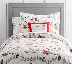 north pole flannel duvet cover pottery barn kids