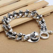 man chain bracelet images Handmade 925 siilver skull chain bracelet 230mm sterling silver jpg