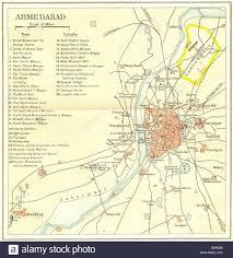 Gujarat India Map by India Ahmedabad City Plan Palaces Mosques Temples Tombs Gujarat