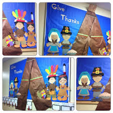 thanksgiving bulletin board pilgrims and indians cut on paper