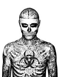 rick genest face chest tattoos coloring pages adults