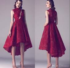 modest vintage wine red lace short high low prom cocktail dresses