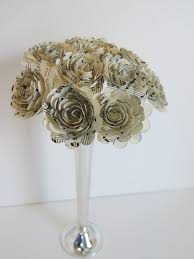 dozen scalloped sheet music paper flower centerpiece musical