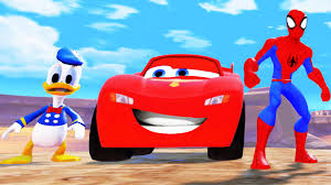 spiderman saves donald duck and lightning mcqueen from jail