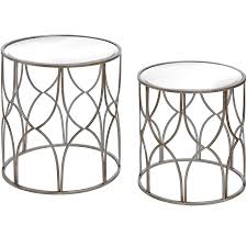silver side table uk set of two lattice detail silver side table from baytree interiors