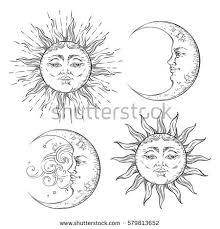 boho flash tattoo design hand drawn stock vector 579813652