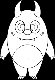 silly little monster coloring page free clip art