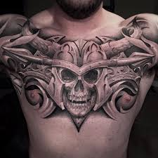 vire skull on guys chest best design ideas