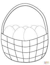 simple easter basket with eggs coloring page free printable
