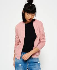 superdry beach micro jersey bomber jacket in pink lyst