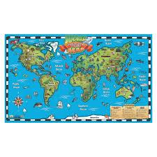 Target World Map by Round World Kid U0027s World Map Interactive Wall Chart Artic Blue