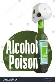 cartoon no alcohol alcohol poison dangers alcoholism concept skull stock vector
