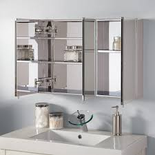 bathroom recessed wood medicine cabinet with fancy mirrored