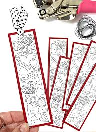 valentine heart bookmarks print color carla schauer designs