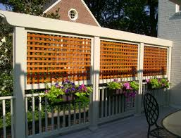 wonderful outdoor hanging floral arrangement with square lattice