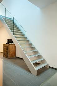 aluminium stairs with glass balustrade on beam integrated by avc