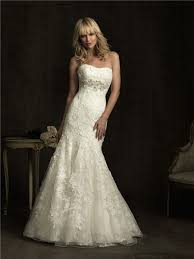 ivory lace wedding dress fitted mermaid strapless empire waist ivory lace wedding dress