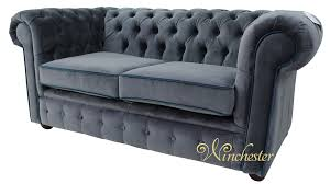 Grey Fabric Chesterfield Sofa by Chesterfield 2 Seater Settee Malta Grey Blue Piping Velvet Fabric