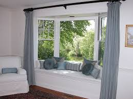 Curtains For Bay Window Bay Window Seat With Pillows Panels And Chair Slipcover Window