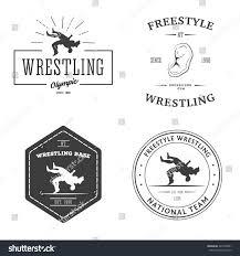 set wrestling logos labels badges templates stock vector 247878061