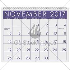 2017 calendar month of november with thanksgiving gl stock images