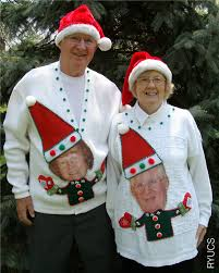 people wearing ugly sweaters grandparents wearing funny custom