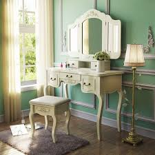 vanity table with lighted mirror and bench amazon com tribesigns french vintage ivory white vanity dressing