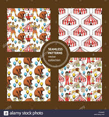 sketch set of seamless circus ornaments in vintage style vector