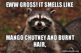 Eww Gross Meme - eww gross it smells like mango chutney and burnt hair make a