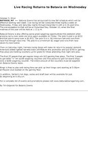 10 3 bd changes racing schedule batavia downs gaming u0026 hotel
