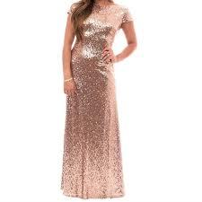 elegant rose gold bridesmaid dress bateau short sleeves long