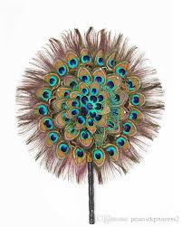 peacock fan 2018 hot sale nation wind peacock feather fan handmade