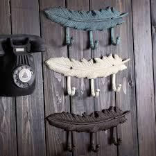 2pcs set vintage cast iron feather hook bar ornaments iron