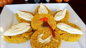 thanksgiving pumpkin turkey roll cake with cheese frosting