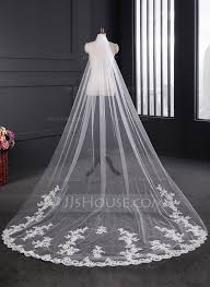 wedding veils one tier lace applique edge cathedral bridal veils with applique