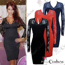 womens black red ladies bodycon midi lace pencil cocktail uk party