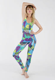 neon multi coloured animal print catsuit catsuit bold colours
