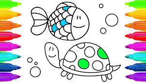 drawing for children animals how to paint turtle and fish