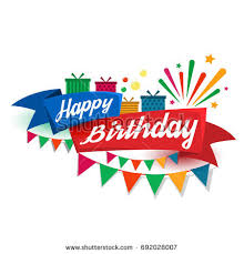 happy birthday ribbon happy birthday typography vector design greeting stock vector