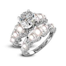the pearls wedding band pearl wedding ring sets bridal setsbridal ring setswedding ring