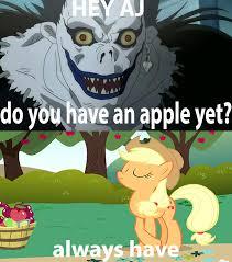 Death Note Meme - 1503389 applejack death note funny meme pony ryuk safe
