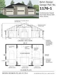 garage plan hipped roof style 3 car garage plan 1176 1 45 3 x 26 behm garage plans