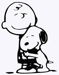 charlie brown and snoopy hug die cut vinyl decal black