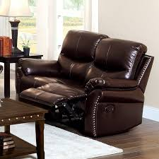 furniture of america norfolk bonded leather loveseat with nailhead