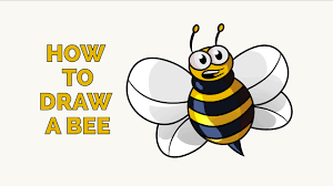 how to draw a cartoon bee easy drawing tutorial youtube