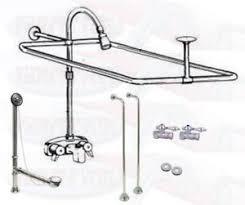 chrome clawfoot tub faucet add a shower kit w curtain rod drain
