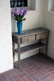 Blue Entryway Table by Rustic Style Foyer Makeover With Small Natural Wood Entry Table