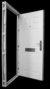 steel front door high security white 6 panels letterbox u0026 spy