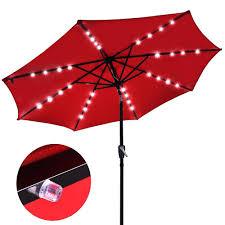amazon com 9 u0027 outdoor patio aluminium umbrella 32 solar powered