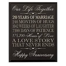 20 year anniversary gifts for 20th wedding anniversary wall plaque gifts for
